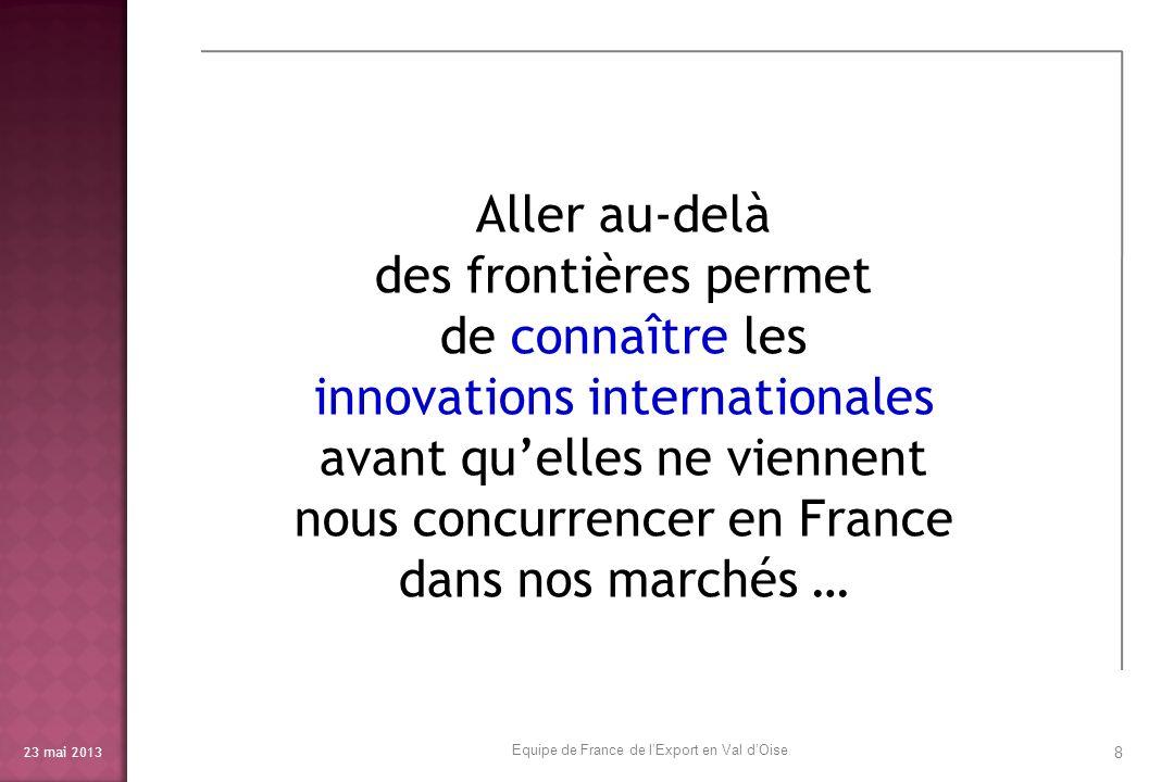 23 mai 2013 9 Et la combinaison des innovations vues à létranger avec nos propres innovations nous permet dêtre encore plus innovants en France et … dans le monde Equipe de France de lExport en Val dOise