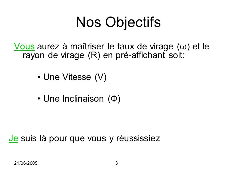 21/06/20053 Nos Objectifs Vous aurez à maîtriser le taux de virage (ω) et le rayon de virage (R) en pré-affichant soit: Une Vitesse (V) Une Inclinaiso