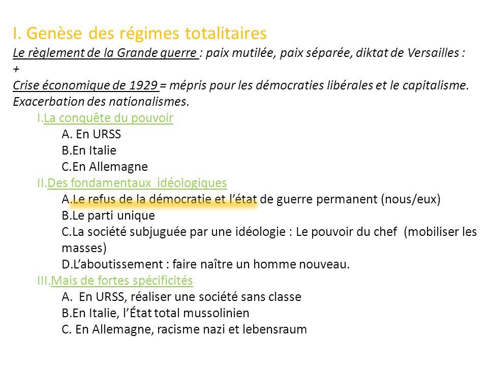 I. Genèse des régimes totalitaires Le règlement de la Grande guerre : paix mutilée, paix séparée, diktat de Versailles : + Crise économique de 1929 =