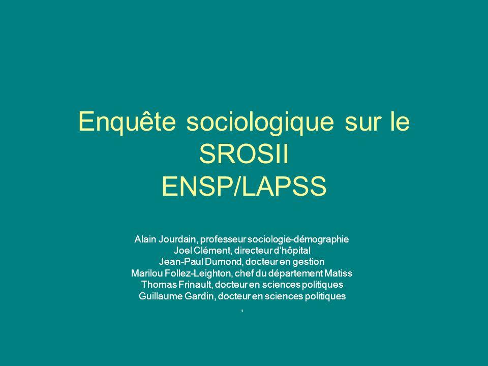Enquête sociologique sur le SROSII ENSP/LAPSS Alain Jourdain, professeur sociologie-démographie Joel Clément, directeur dhôpital Jean-Paul Dumond, doc