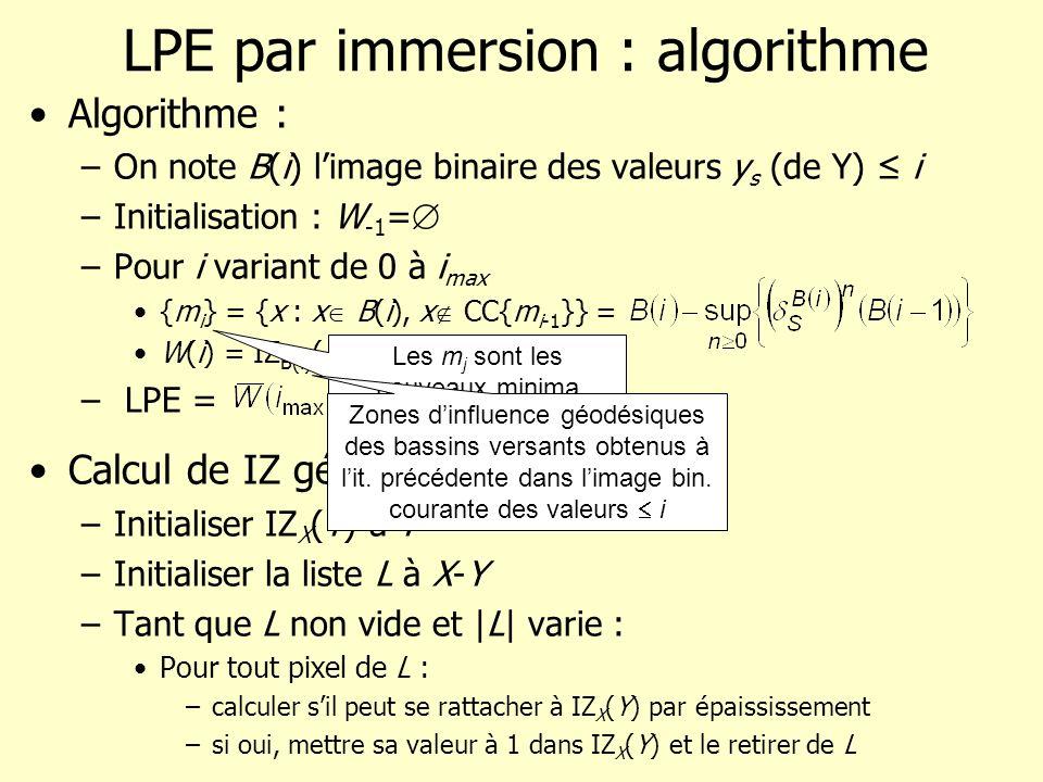 LPE par immersion : algorithme Algorithme : –On note B(i) limage binaire des valeurs y s (de Y) i –Initialisation : W -1 = –Pour i variant de 0 à i ma