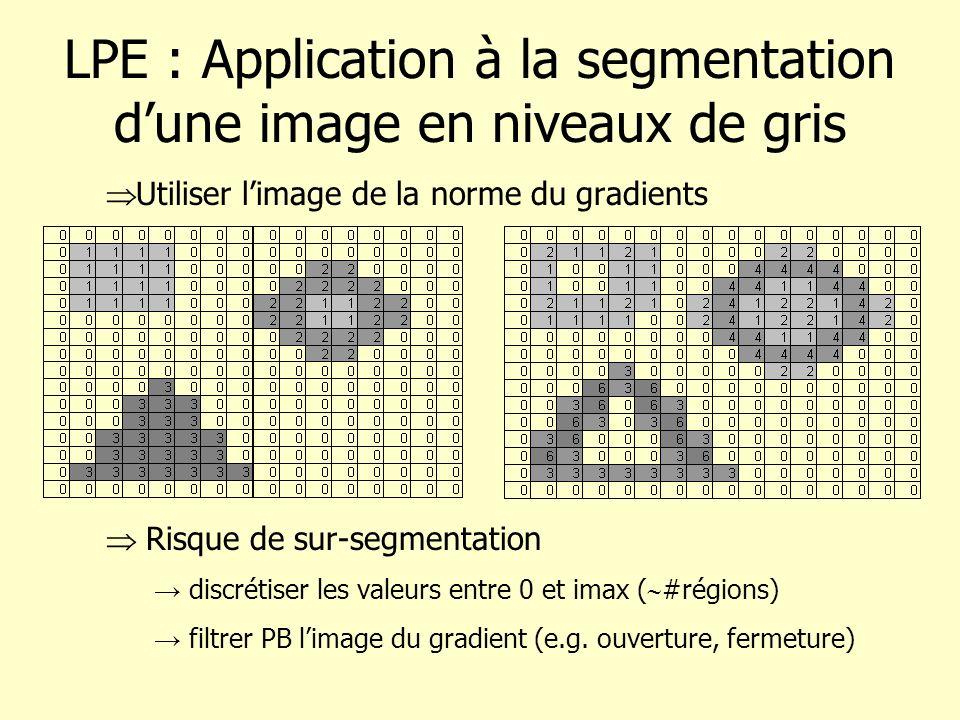 LPE : Application à la segmentation dune image en niveaux de gris Utiliser limage de la norme du gradients Risque de sur-segmentation discrétiser les