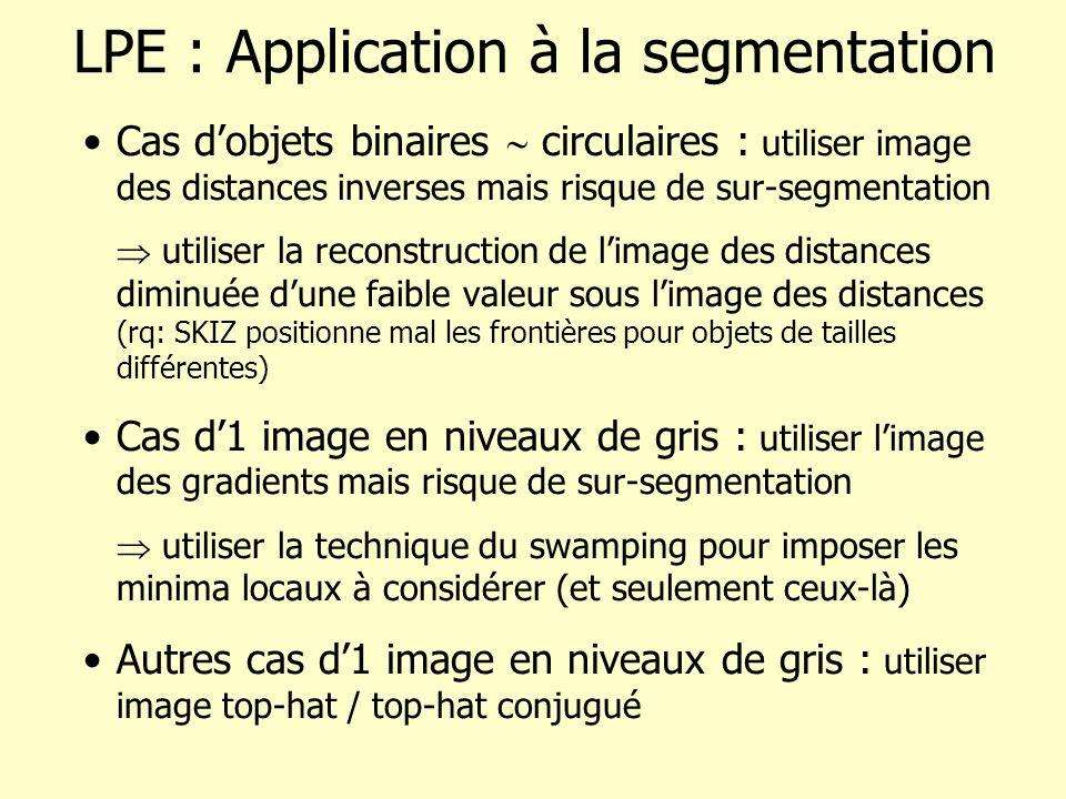 LPE : Application à la segmentation Cas dobjets binaires circulaires : utiliser image des distances inverses mais risque de sur-segmentation utiliser