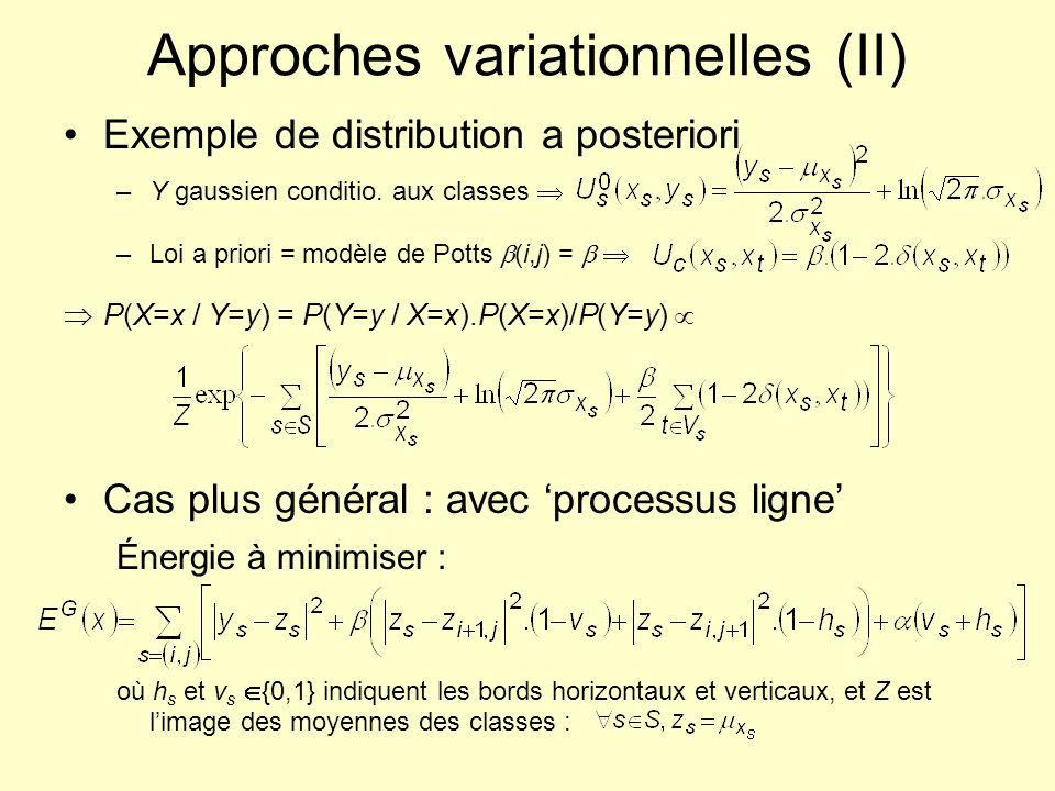 Approches variationnelles (II) Exemple de distribution a posteriori –Y gaussien conditio. aux classes –Loi a priori = modèle de Potts (i,j) = P(X=x /