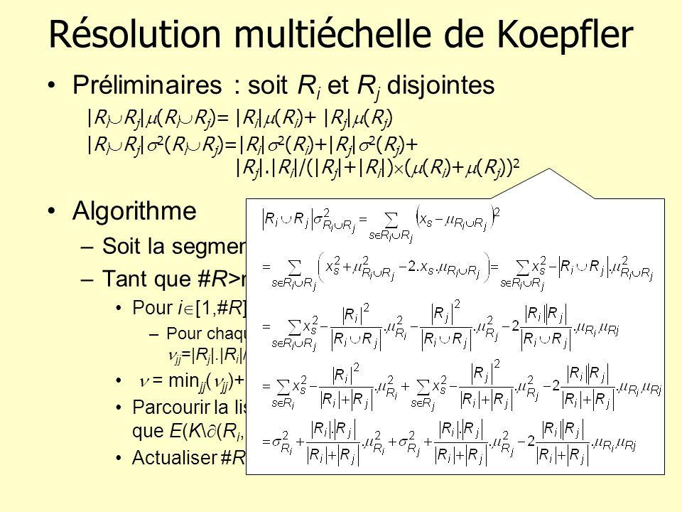 Résolution multiéchelle de Koepfler Algorithme –Soit la segmentation triviale : #R=|S|, soit 0 –Tant que #R>nbre de régions souhaité Pour i [1,#R] –Po
