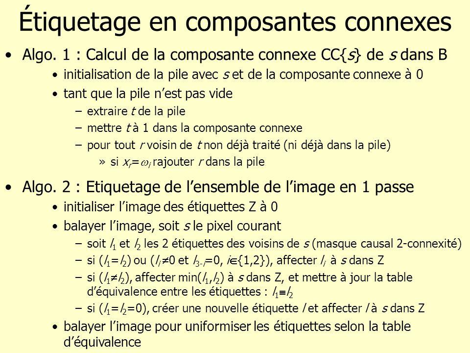 Étiquetage en composantes connexes Algo. 1 : Calcul de la composante connexe CC{s} de s dans B initialisation de la pile avec s et de la composante co