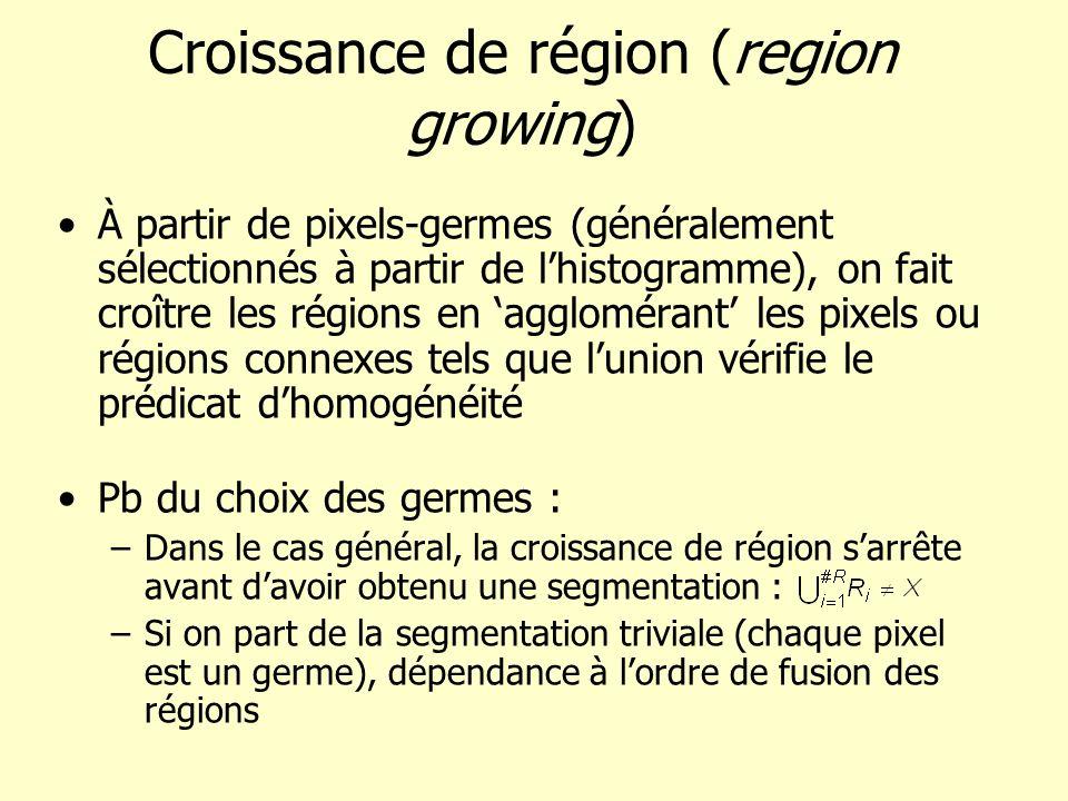 Croissance de région (region growing) À partir de pixels-germes (généralement sélectionnés à partir de lhistogramme), on fait croître les régions en a