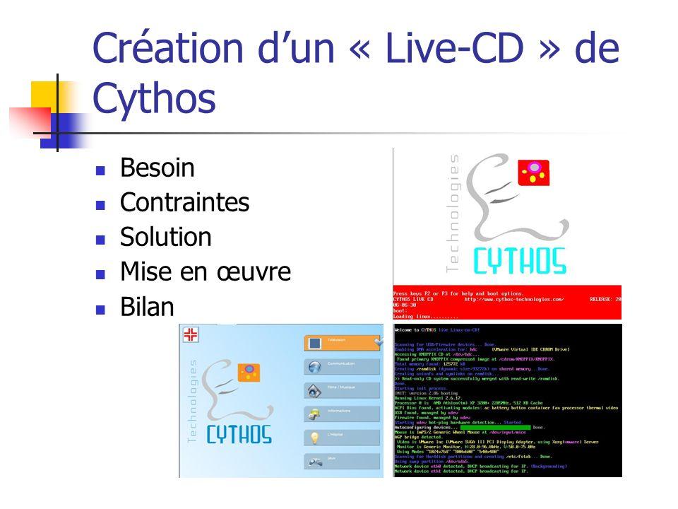 Création dun « Live-CD » de Cythos Besoin Contraintes Solution Mise en œuvre Bilan