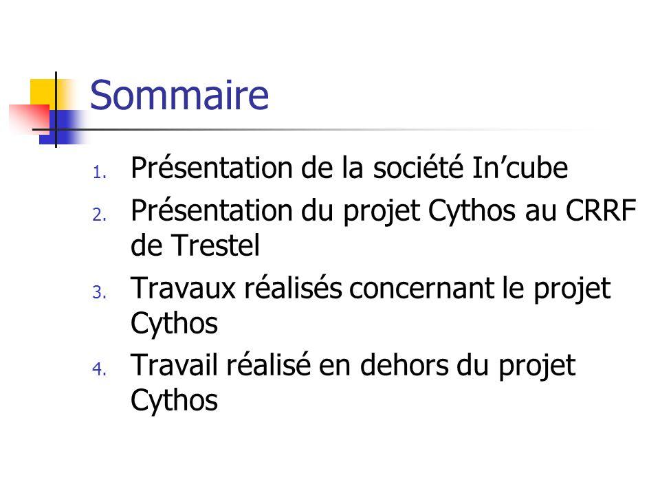 Sommaire 1. Présentation de la société Incube 2. Présentation du projet Cythos au CRRF de Trestel 3. Travaux réalisés concernant le projet Cythos 4. T