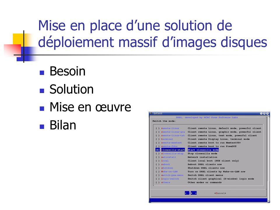 Mise en place dune solution de déploiement massif dimages disques Besoin Solution Mise en œuvre Bilan