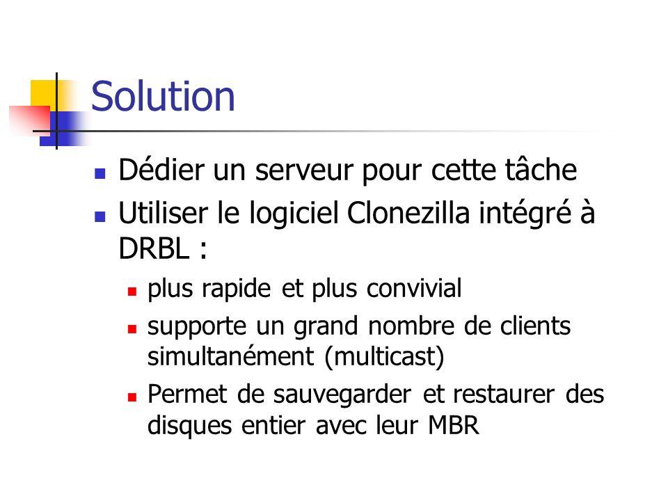 Solution Dédier un serveur pour cette tâche Utiliser le logiciel Clonezilla intégré à DRBL : plus rapide et plus convivial supporte un grand nombre de