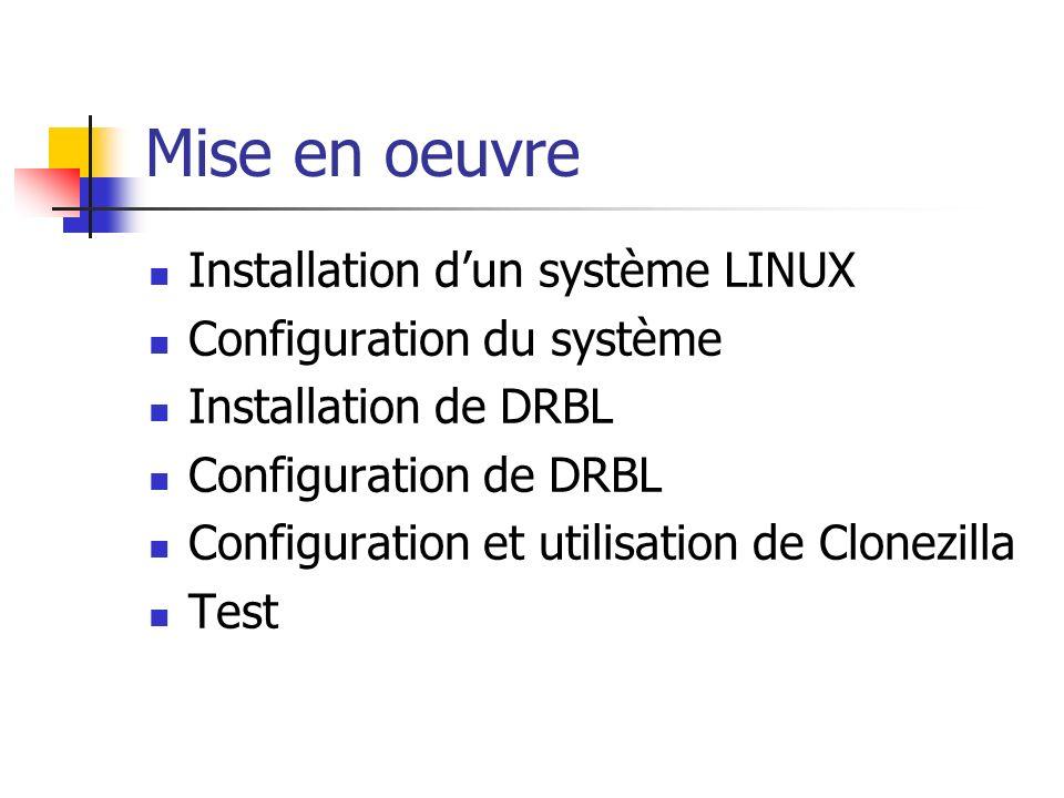 Mise en oeuvre Installation dun système LINUX Configuration du système Installation de DRBL Configuration de DRBL Configuration et utilisation de Clon