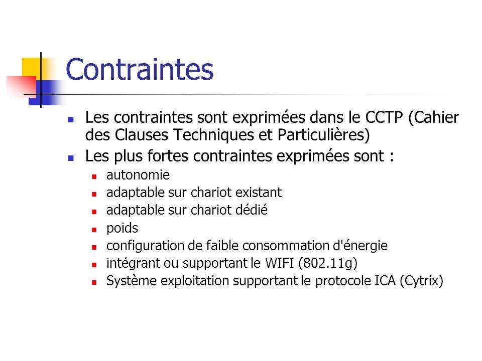 Contraintes Les contraintes sont exprimées dans le CCTP (Cahier des Clauses Techniques et Particulières) Les plus fortes contraintes exprimées sont :