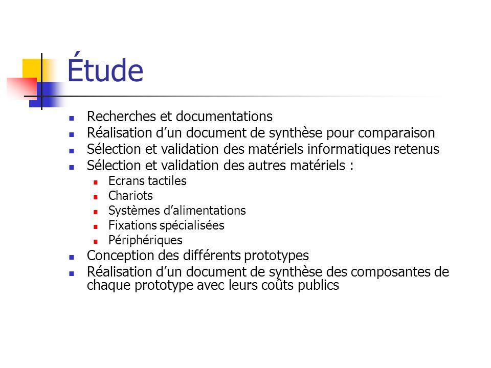 Étude Recherches et documentations Réalisation dun document de synthèse pour comparaison Sélection et validation des matériels informatiques retenus S