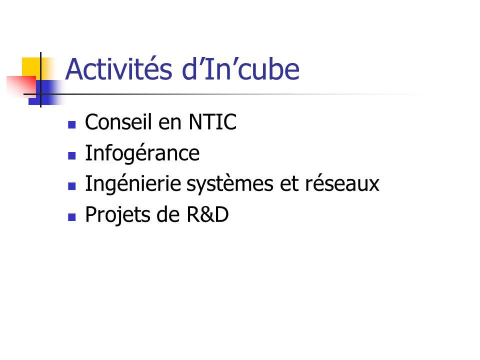 Activités dIncube Conseil en NTIC Infogérance Ingénierie systèmes et réseaux Projets de R&D