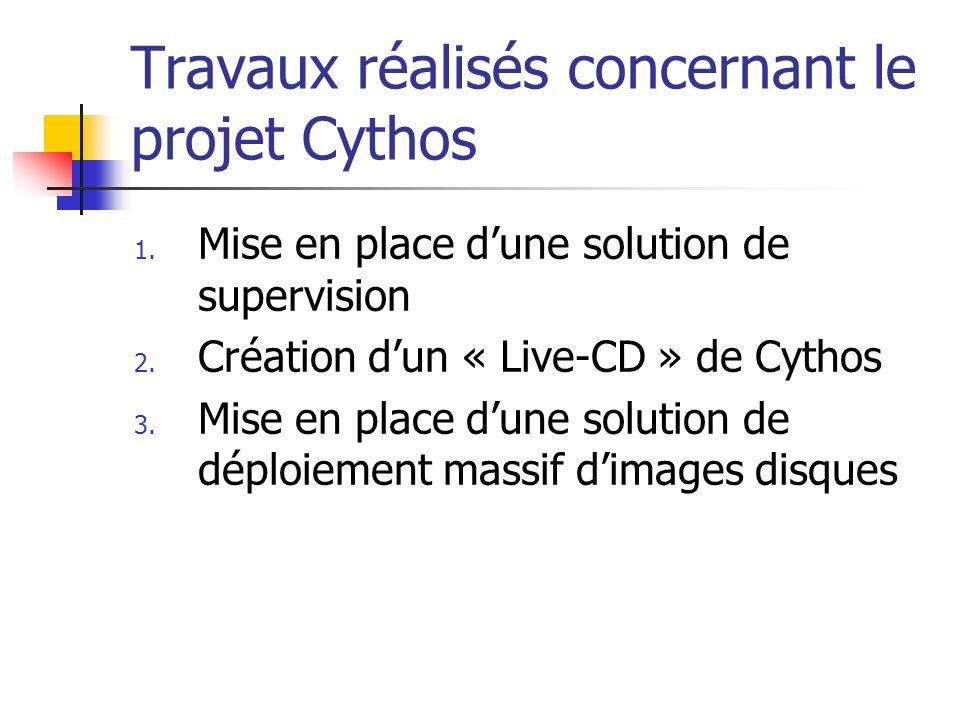 Travaux réalisés concernant le projet Cythos 1. Mise en place dune solution de supervision 2. Création dun « Live-CD » de Cythos 3. Mise en place dune