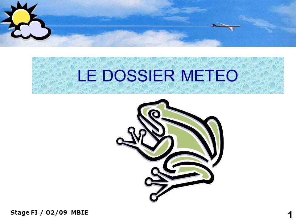 Stage FI / O2/09 MBIE 32 Le dossier Météo Le Code METAR Abréviations des codes de temps significatifs pour messages METAR, SPECI, TAF