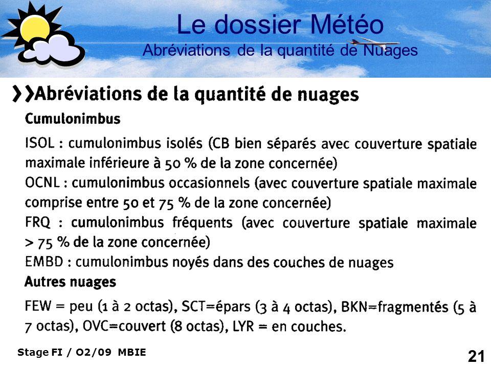 Stage FI / O2/09 MBIE 21 Le dossier Météo Abréviations de la quantité de Nuages