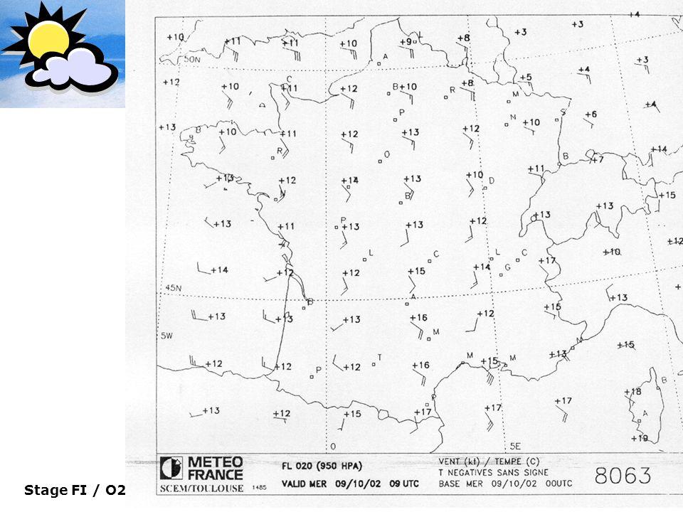 Stage FI / O2/09 MBIE 22 Le Dossier Météo Carte de surface 950 Hpa (Vents & Température)