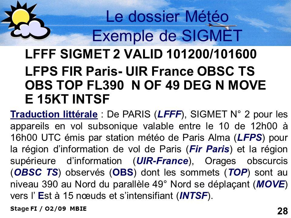 Stage FI / O2/09 MBIE 28 Le dossier Météo Exemple de SIGMET LFFF SIGMET 2 VALID 101200/101600 LFPS FIR Paris- UIR France OBSC TS OBS TOP FL390 N OF 49