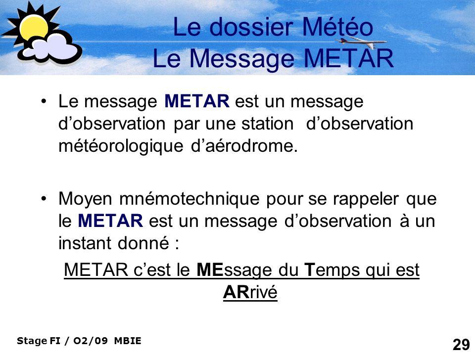 Stage FI / O2/09 MBIE 29 Le dossier Météo Le Message METAR Le message METAR est un message dobservation par une station dobservation météorologique da