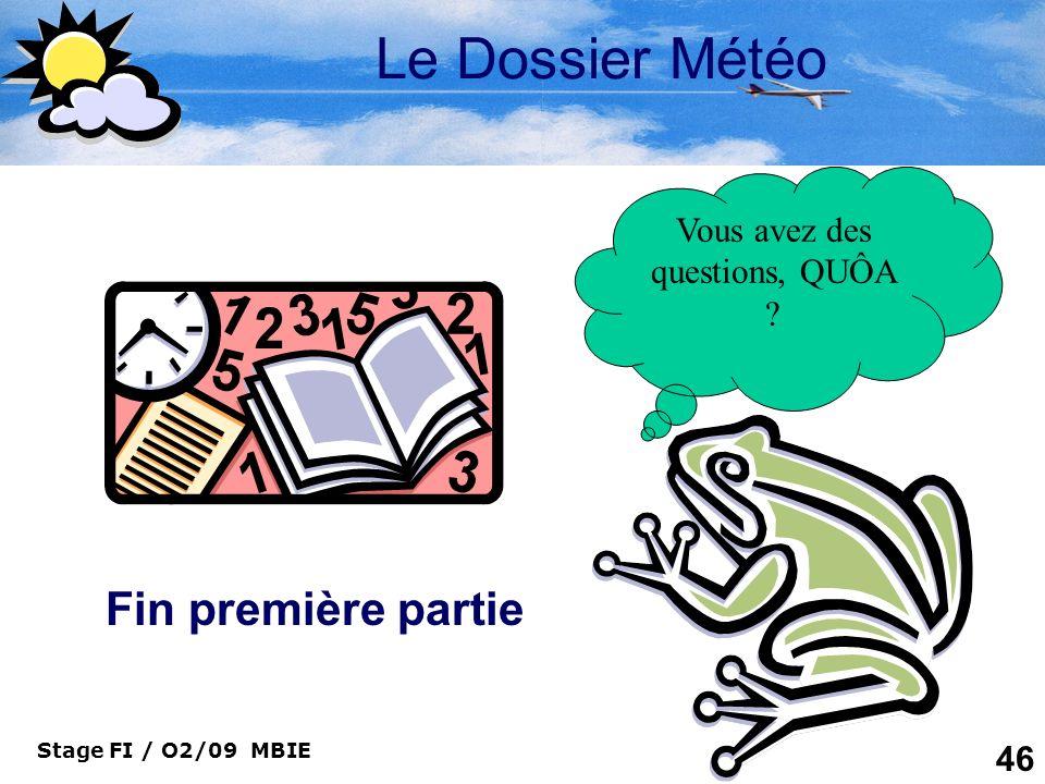 Stage FI / O2/09 MBIE 46 Le Dossier Météo Vous avez des questions, QUÔA ? Fin première partie