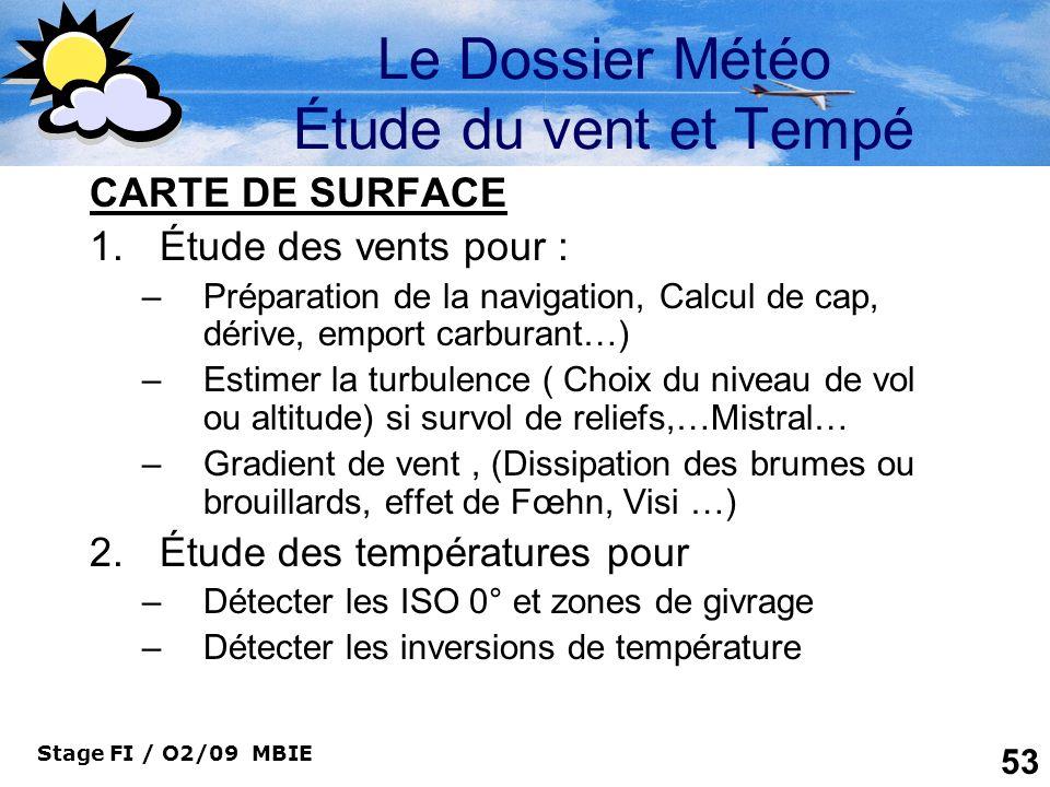 Stage FI / O2/09 MBIE 53 Le Dossier Météo Étude du vent et Tempé CARTE DE SURFACE 1.Étude des vents pour : –Préparation de la navigation, Calcul de ca