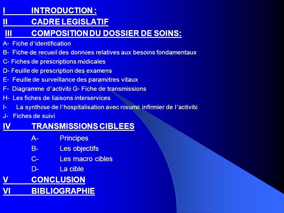 LE DOSSIER DE SOINS C est un document qui concerne le malade.
