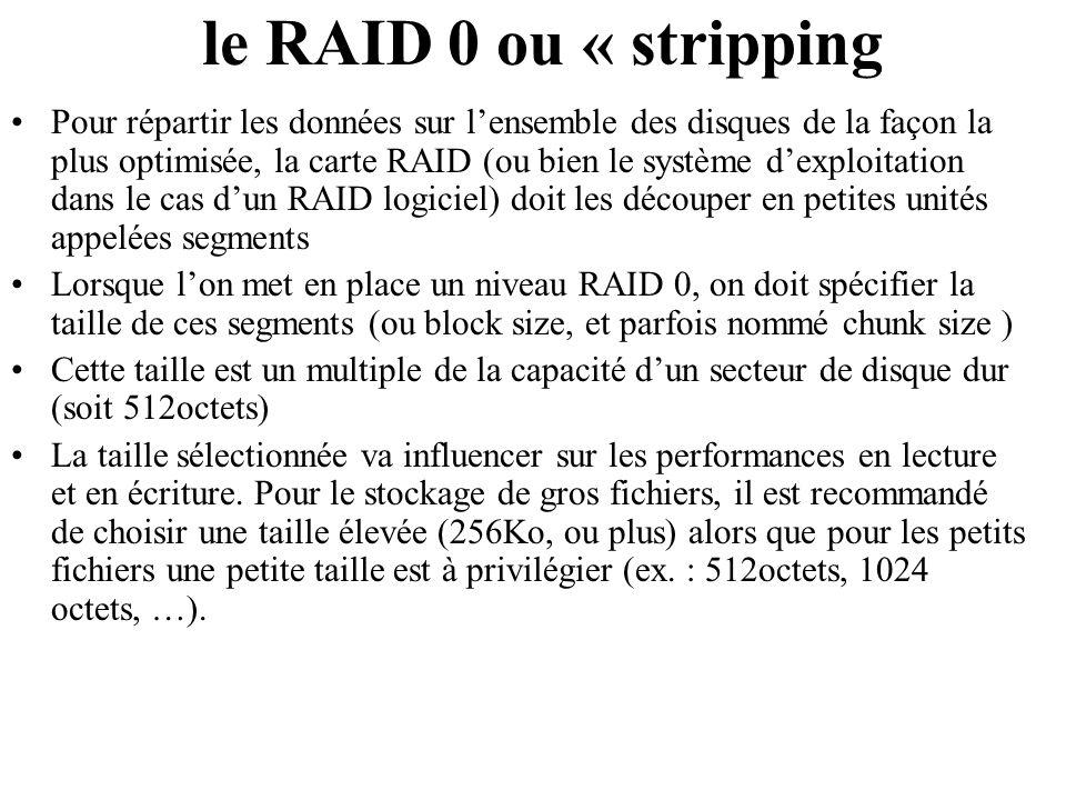Pour répartir les données sur lensemble des disques de la façon la plus optimisée, la carte RAID (ou bien le système dexploitation dans le cas dun RAI