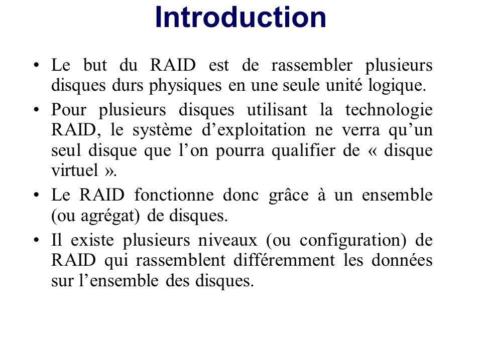 En fonction du niveau de RAID sélectionné on peut : –additionner la capacité des disques durs pour former un disque virtuel plus grand –obtenir un disque virtuel plus performant –mettre en place la tolérance de panne (c est-à-dire sécuriser les données) –augmenter la capacité, les performances et la sécurité.