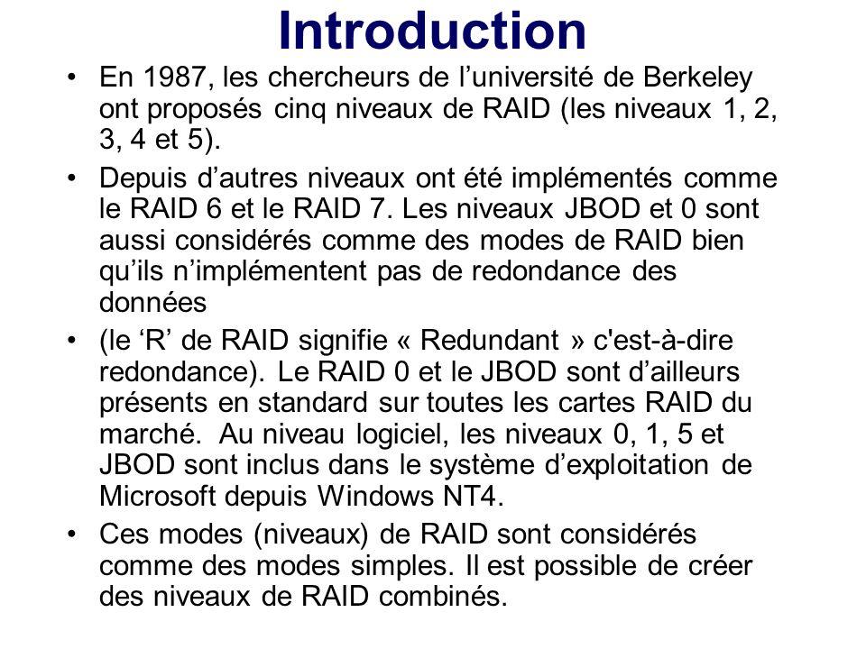 En 1987, les chercheurs de luniversité de Berkeley ont proposés cinq niveaux de RAID (les niveaux 1, 2, 3, 4 et 5). Depuis dautres niveaux ont été imp