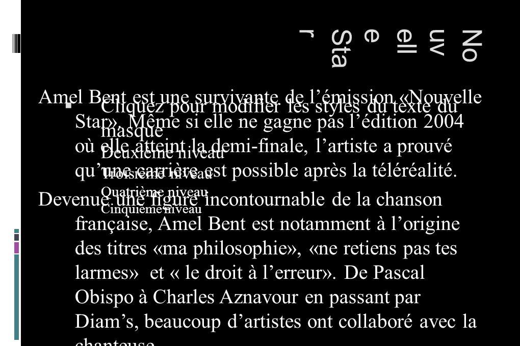 Cliquez pour modifier les styles du texte du masque Deuxième niveau Troisième niveau Quatrième niveau Cinquième niveau NouvelleStar Amel Bent est une