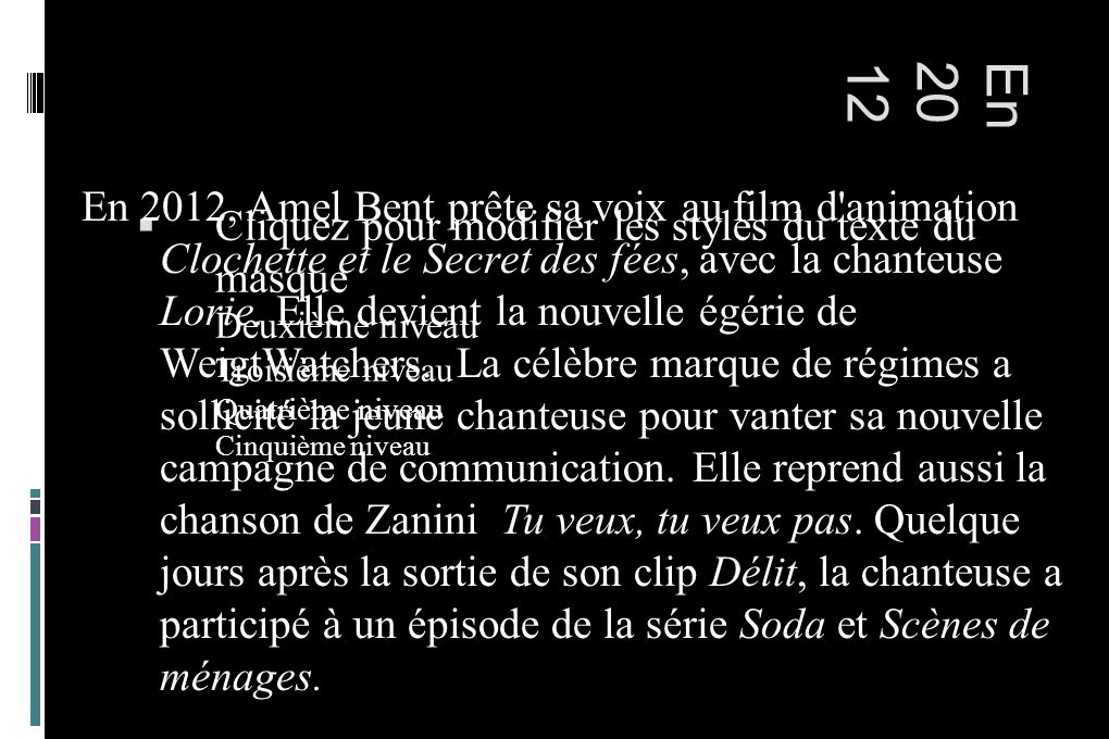 Cliquez pour modifier les styles du texte du masque Deuxième niveau Troisième niveau Quatrième niveau Cinquième niveau En2012 En 2012, Amel Bent prête