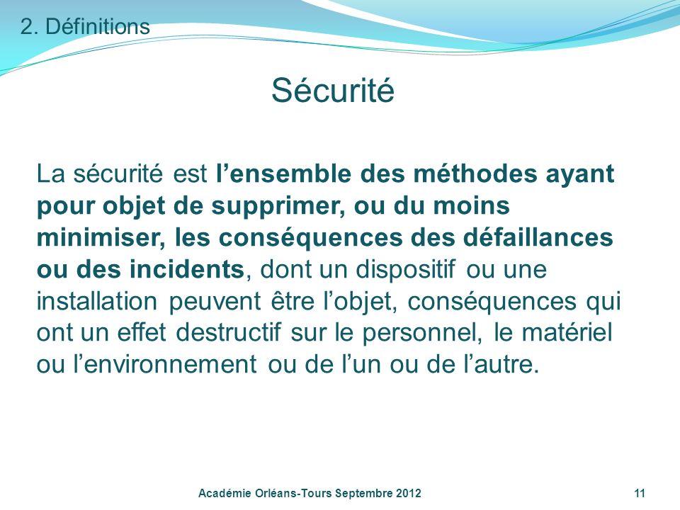 Académie Orléans-Tours Septembre 2012 11 Sécurité La sécurité est lensemble des méthodes ayant pour objet de supprimer, ou du moins minimiser, les con