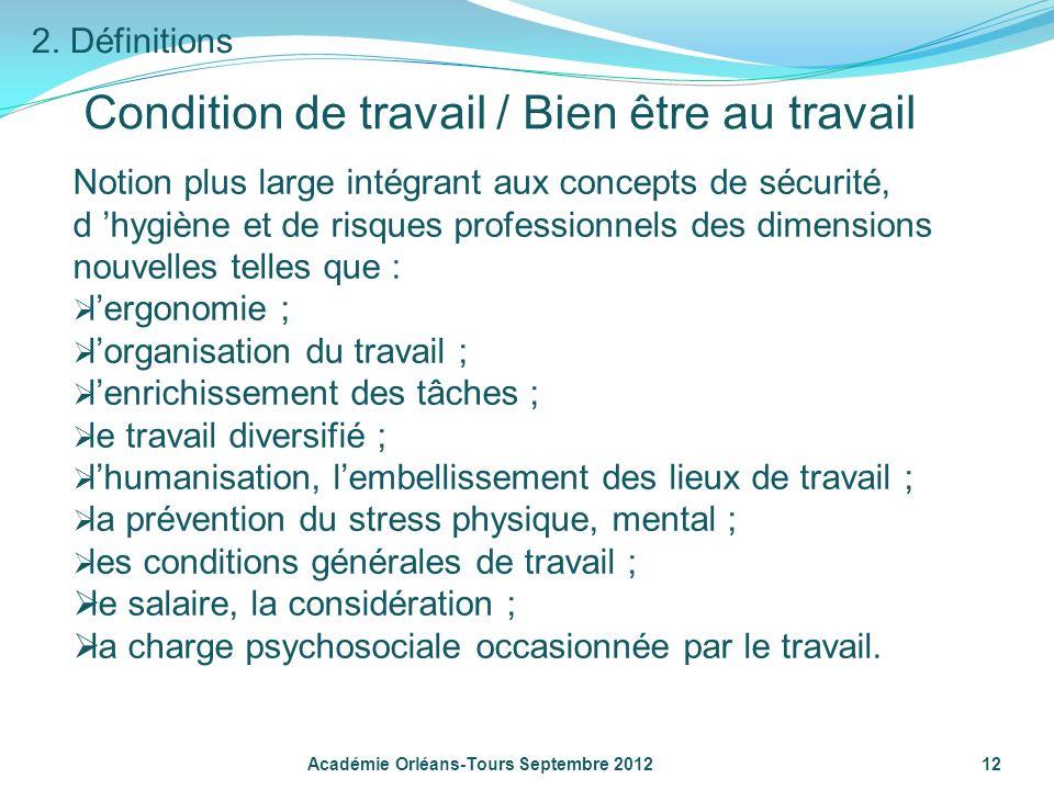Académie Orléans-Tours Septembre 2012 12 Condition de travail / Bien être au travail Notion plus large intégrant aux concepts de sécurité, d hygiène e