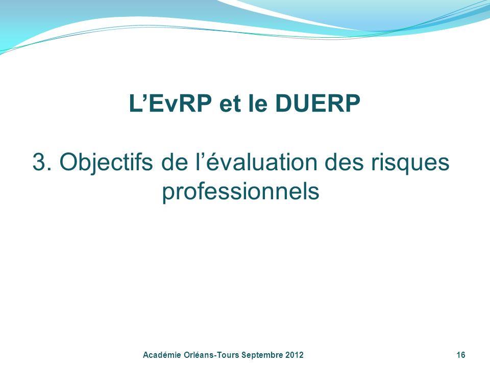 16 Académie Orléans-Tours Septembre 2012 3. Objectifs de lévaluation des risques professionnels LEvRP et le DUERP