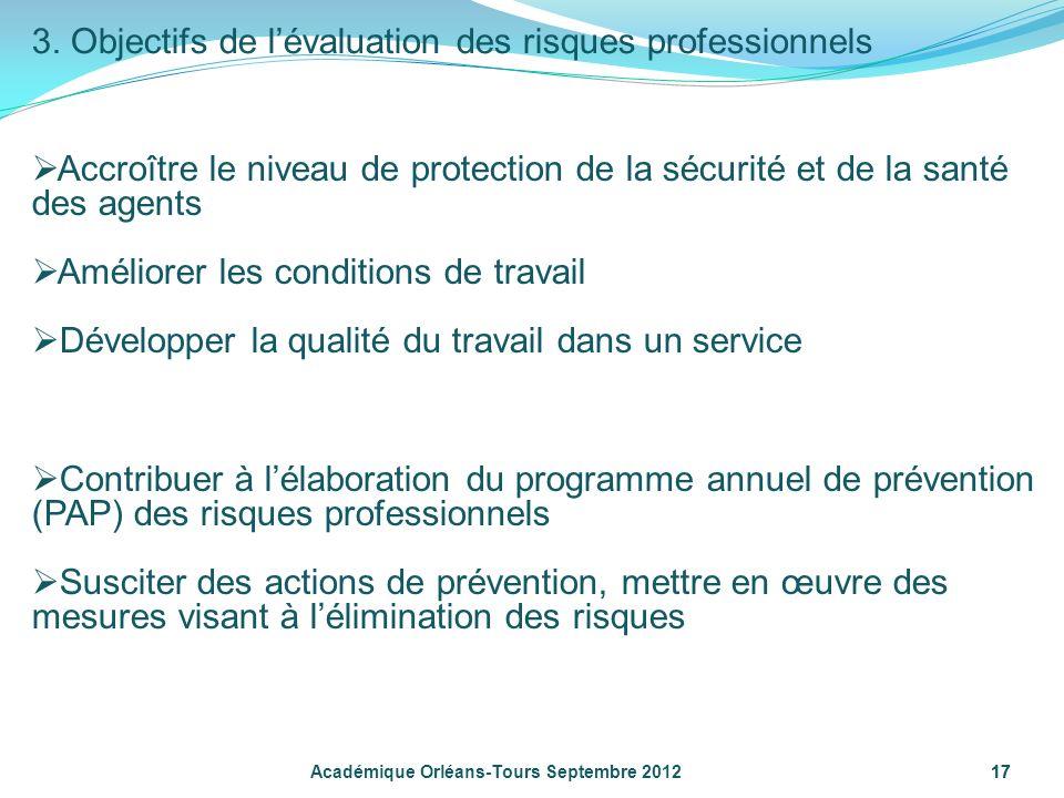 17 Académique Orléans-Tours Septembre 2012 3. Objectifs de lévaluation des risques professionnels Accroître le niveau de protection de la sécurité et