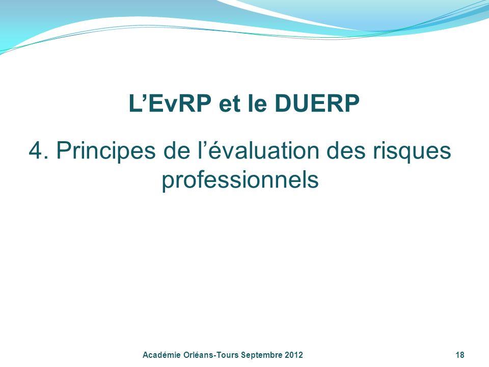 18 Académie Orléans-Tours Septembre 2012 4. Principes de lévaluation des risques professionnels LEvRP et le DUERP