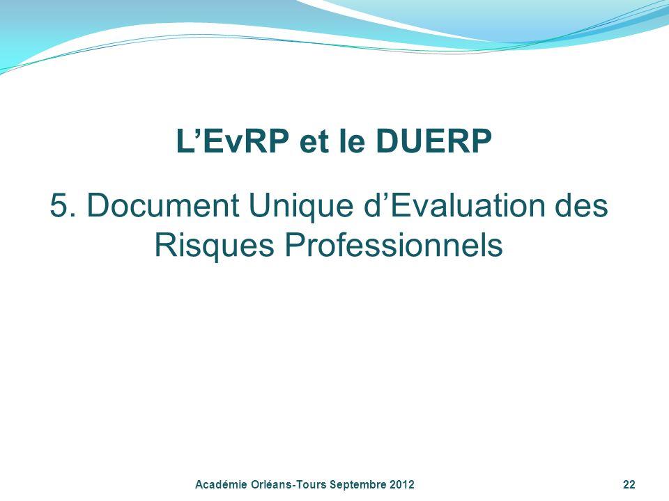 22 Académie Orléans-Tours Septembre 2012 5. Document Unique dEvaluation des Risques Professionnels LEvRP et le DUERP