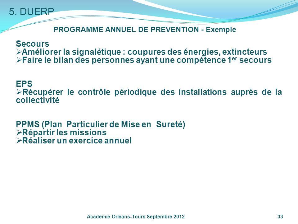 33 PROGRAMME ANNUEL DE PREVENTION - Exemple Secours Améliorer la signalétique : coupures des énergies, extincteurs Faire le bilan des personnes ayant