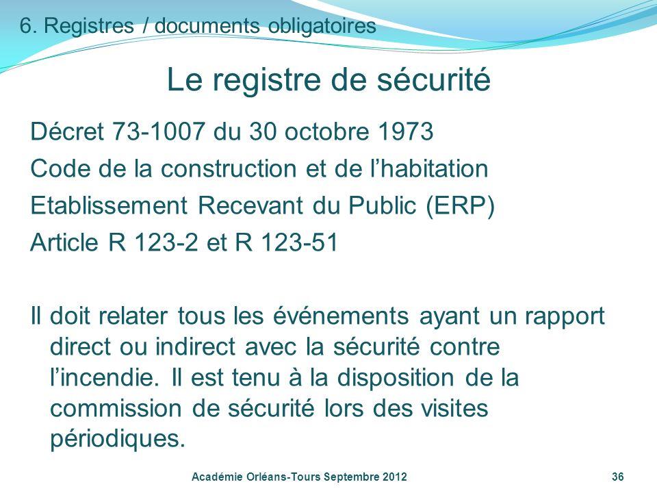 Le registre de sécurité Décret 73-1007 du 30 octobre 1973 Code de la construction et de lhabitation Etablissement Recevant du Public (ERP) Article R 1