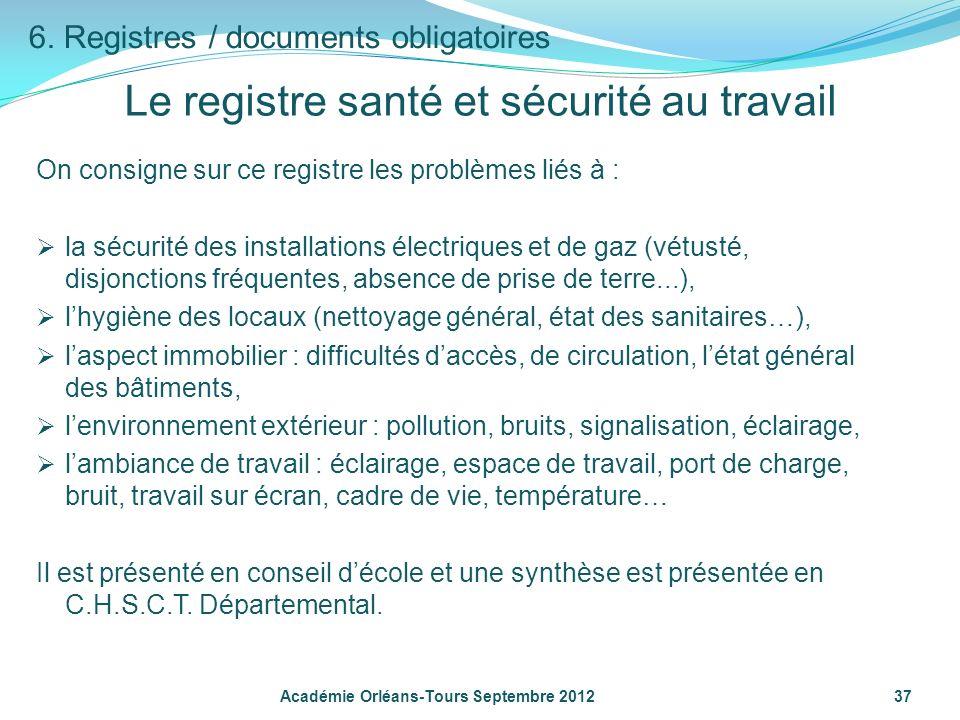 On consigne sur ce registre les problèmes liés à : la sécurité des installations électriques et de gaz (vétusté, disjonctions fréquentes, absence de p