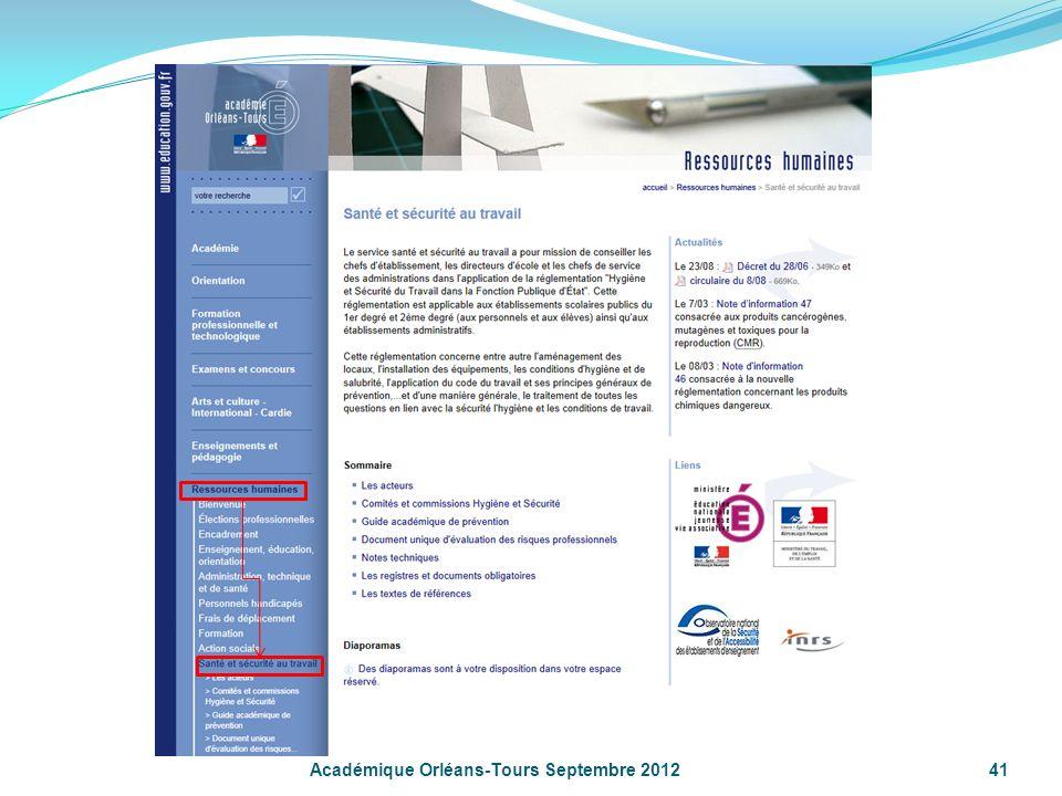 Académique Orléans-Tours Septembre 201241