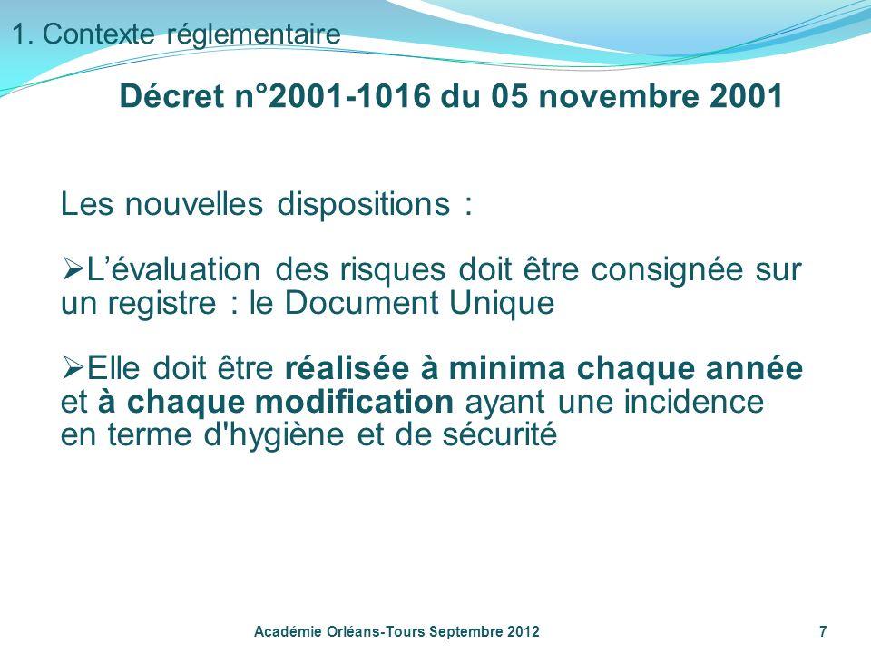 Les nouvelles dispositions : Lévaluation des risques doit être consignée sur un registre : le Document Unique Elle doit être réalisée à minima chaque