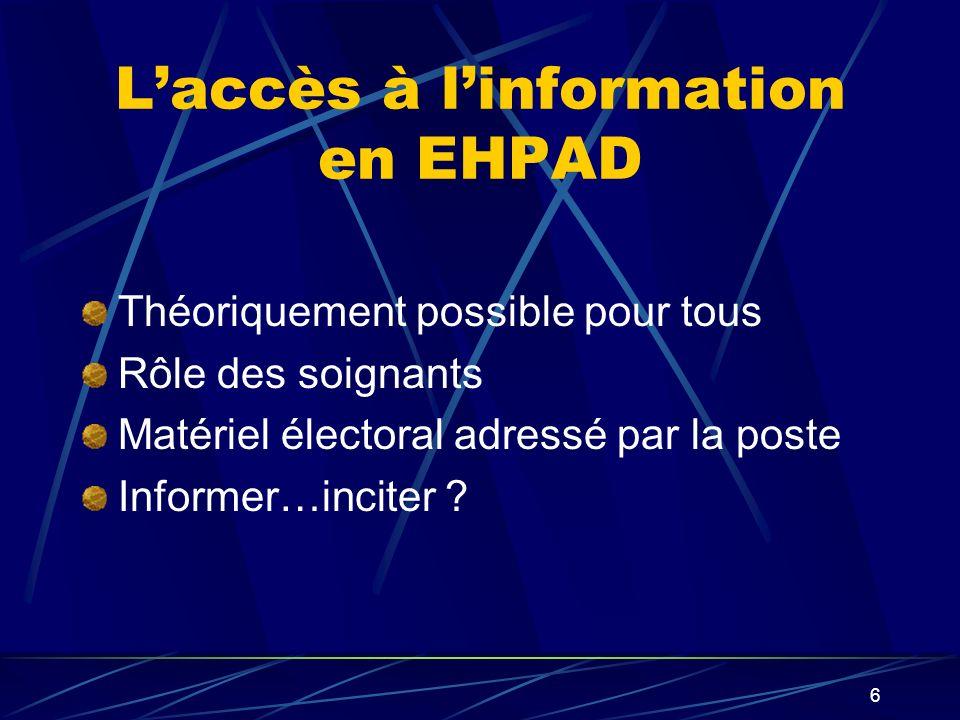 6 Laccès à linformation en EHPAD Théoriquement possible pour tous Rôle des soignants Matériel électoral adressé par la poste Informer…inciter ?