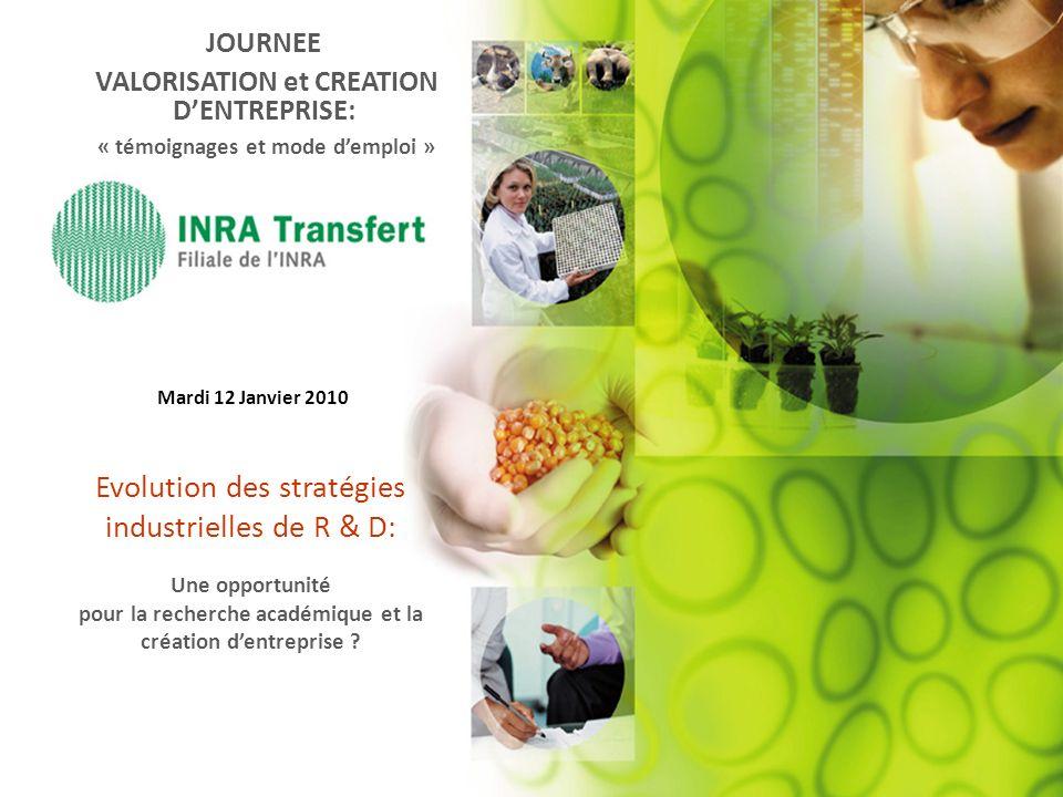 JOURNEE VALORISATION et CREATION DENTREPRISE: « témoignages et mode demploi » Mardi 12 Janvier 2010 Evolution des stratégies industrielles de R & D: U