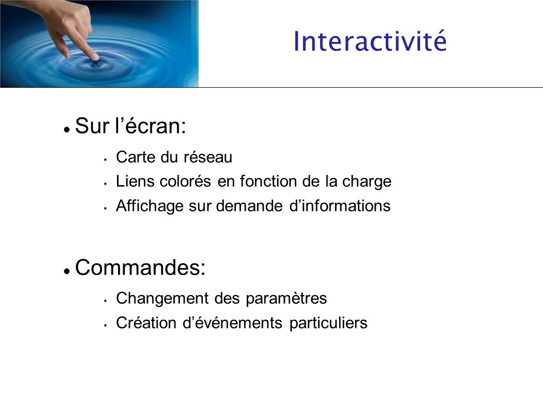 Interactivité Sur lécran: Carte du réseau Liens colorés en fonction de la charge Affichage sur demande dinformations Commandes: Changement des paramèt