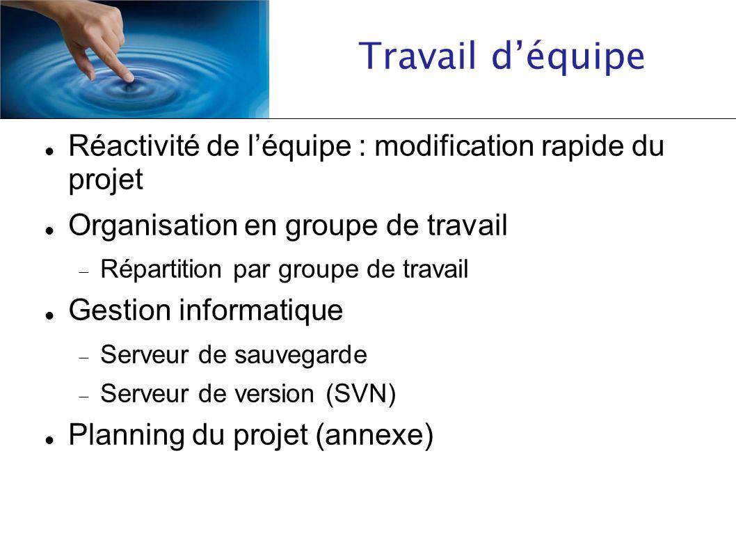 Réactivité de léquipe : modification rapide du projet Organisation en groupe de travail Répartition par groupe de travail Gestion informatique Serveur
