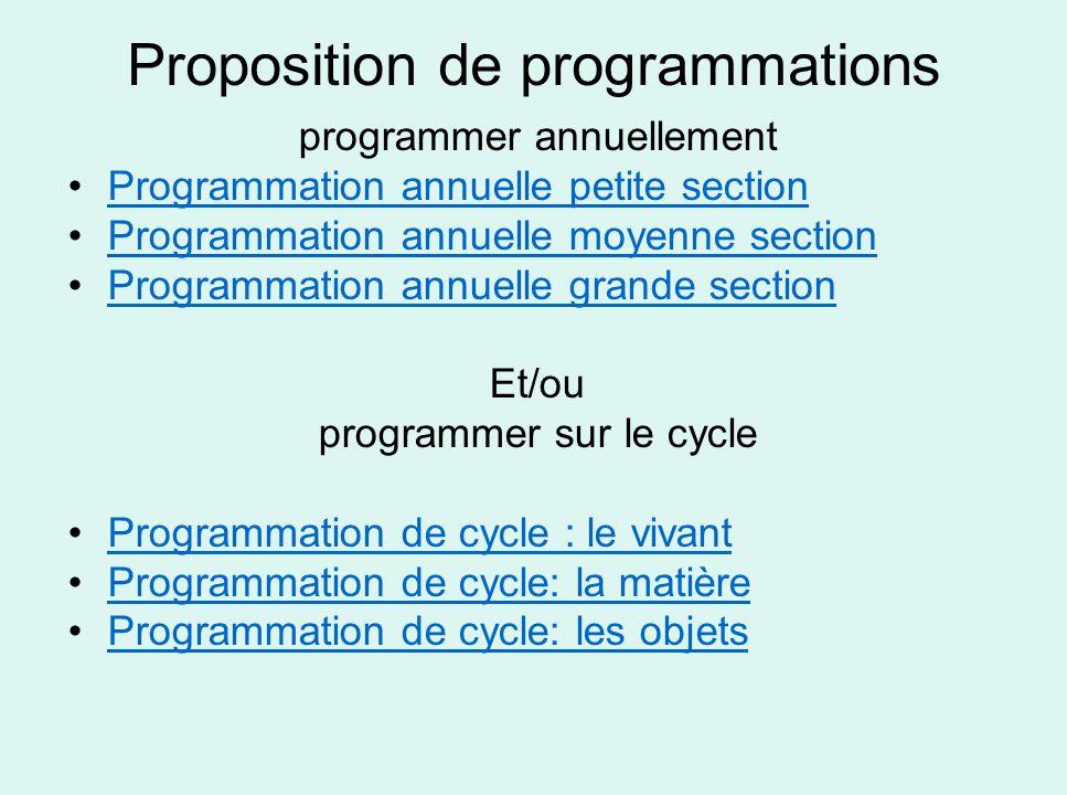 Proposition de programmations programmer annuellement Programmation annuelle petite section Programmation annuelle moyenne section Programmation annue