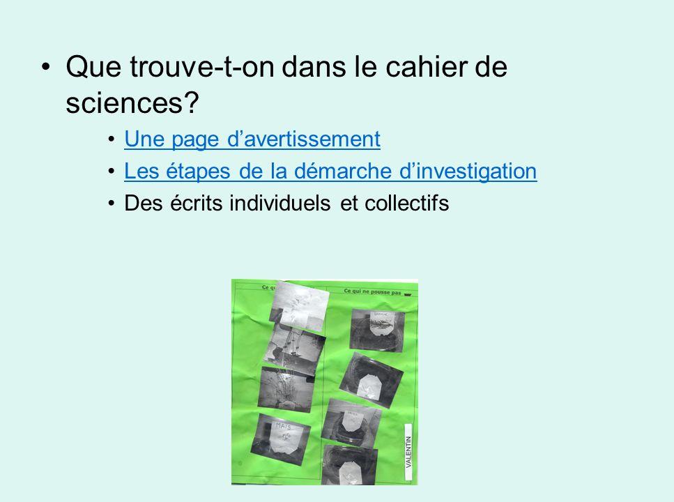 Que trouve-t-on dans le cahier de sciences? Une page davertissement Les étapes de la démarche dinvestigation Des écrits individuels et collectifs
